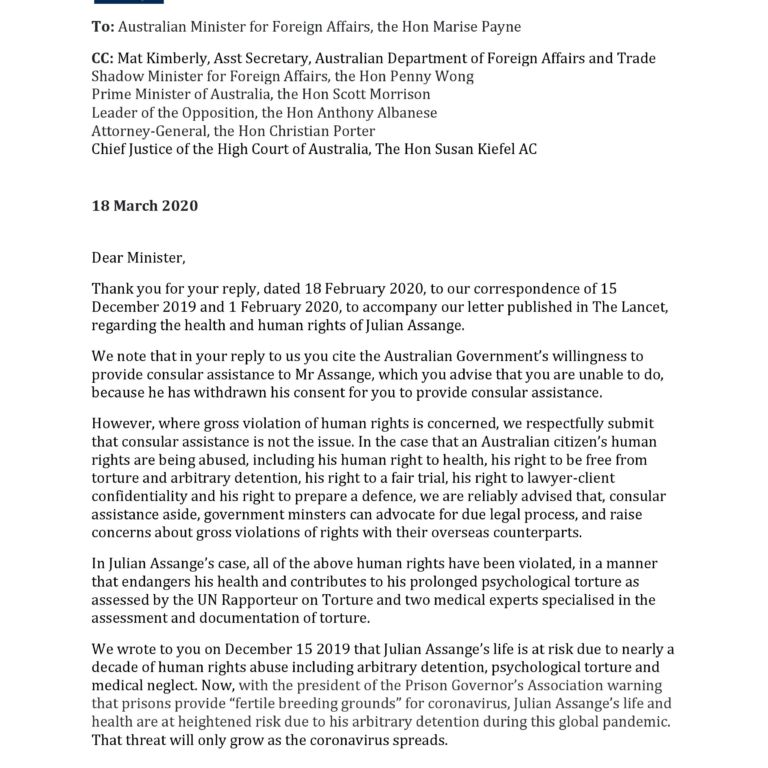 Doctors for Assange reply to Australian Government - March 2020