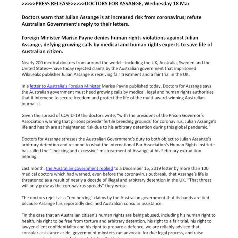 Press Release Doctors for Assange - Reply to Minister Payne (18/03/20)
